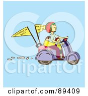 Royalty Free RF Clipart Illustration Of An Asian Woman Driving A Scooter With Children On Board And Watch Out Flags by Cherie Reve