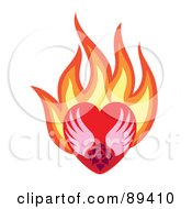 Royalty Free RF Clipart Illustration Of A Rose And Wings In A Flaming Red Heart by Cherie Reve