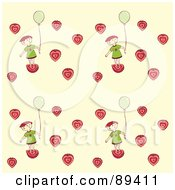 Seamless Girl With A Balloon And Strawberry Hearts Pattern On Beige