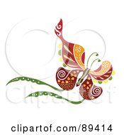 Royalty Free RF Clipart Illustration Of A Colorful And Ornate Patterned Butterfly Version 3 by Cherie Reve