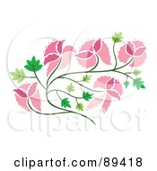 Royalty Free RF Clipart Illustration Of A Pink Floral Vine And Green Leaves