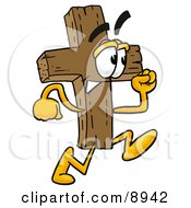 Clipart Picture Of A Wooden Cross Mascot Cartoon Character Running
