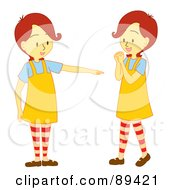 Royalty Free RF Clipart Illustration Of A Bossy Girl Instructing Her Twin by Cherie Reve