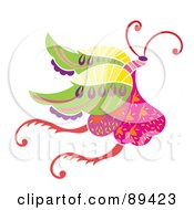 Royalty Free RF Clipart Illustration Of A Colorful And Ornate Patterned Butterfly Version 1 by Cherie Reve