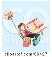 Royalty Free RF Clipart Illustration Of An Exhausted Mom Napping On A Bench With Her Baby by Cherie Reve