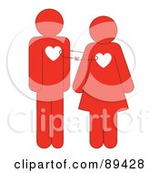 Royalty Free RF Clipart Illustration Of A Red Man And Woman With Heart Chests Tied Together by Cherie Reve
