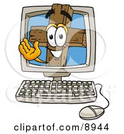 Clipart Picture Of A Wooden Cross Mascot Cartoon Character Waving From Inside A Computer Screen