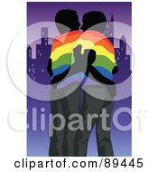 Royalty Free RF Clipart Illustration Of A Gay Couple Wearing Rainbow Shirts Embracing And Standing By A City by mayawizard101