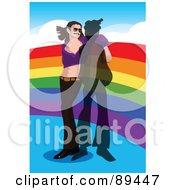 Royalty Free RF Clipart Illustration Of A Gay Man Wearing A Purple Crop Top And Leaning On A Rainbow by mayawizard101