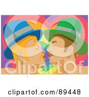 Royalty Free RF Clipart Illustration Of A Gay Couple Kissing In Front Of A Rainbow Heart