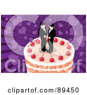 Royalty Free RF Clipart Illustration Of A Wedding Cake With Two Gay Grooms And Cherries On Top