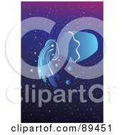 Blue Aquarious Water Jug Horoscope Image Over A Starry Sky