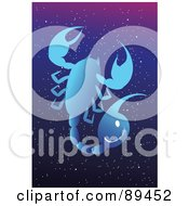 Royalty Free RF Clipart Illustration Of A Blue Scorpio Scorpion Horoscope Image Over A Starry Sky by mayawizard101