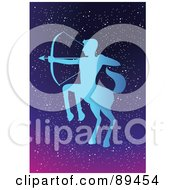 Royalty Free RF Clipart Illustration Of A Blue Sagittarius Centaur Horoscope Image Over A Starry Sky
