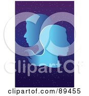Royalty Free RF Clipart Illustration Of A Blue Gemini Twin Horoscope Image Over A Starry Sky by mayawizard101