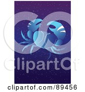 Royalty Free RF Clipart Illustration Of A Blue Cancer Crab Horoscope Image Over A Starry Sky