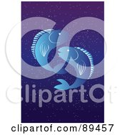 Royalty Free RF Clipart Illustration Of A Blue Pisces Fish Horoscope Image Over A Starry Sky by mayawizard101