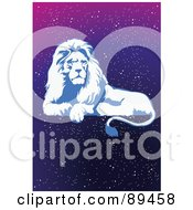 Royalty Free RF Clipart Illustration Of A Blue Leo Lion Horoscope Image Over A Starry Sky by mayawizard101