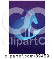 Royalty Free RF Clipart Illustration Of A Blue Capricorn Sea Goat Horoscope Image Over A Starry Sky by mayawizard101