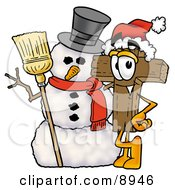 Clipart Picture Of A Wooden Cross Mascot Cartoon Character With A Snowman On Christmas