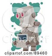 Royalty Free RF Clipart Illustration Of A Metal Robot Carrying A Laptop by mayawizard101