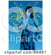Royalty Free RF Clipart Illustration Of A Female Guitarist In Blue Over Yellow Vines by mayawizard101