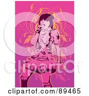 Royalty Free RF Clipart Illustration Of A Pink Female Singer With A Microphone Over Pink With Orange Vines by mayawizard101