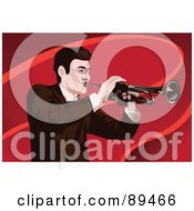 Royalty Free RF Clipart Illustration Of A Man Playing A Trumpet Over Red Waves by mayawizard101