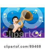 Royalty Free RF Clipart Illustration Of A Male Trumpeter With A Trumpet And Music Notes by mayawizard101
