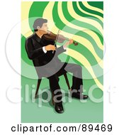 Royalty Free RF Clipart Illustration Of A Male Violinist Playing In A Chair by mayawizard101