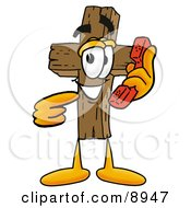 Clipart Picture Of A Wooden Cross Mascot Cartoon Character Holding A Telephone