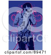 Royalty Free RF Clipart Illustration Of A Blue Male Singer With A Microphone Over Blue With Pink Vines by mayawizard101