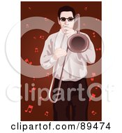 Royalty Free RF Clipart Illustration Of A Man Playing A Trombone Over Red With Music Notes by mayawizard101