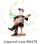 Male Guitarist Strumming His Guitar On A Stool Over White With Music Notes