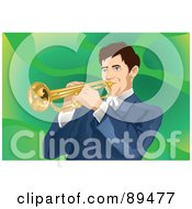 Royalty Free RF Clipart Illustration Of A Man Playing A Trumpet Over Green by mayawizard101