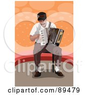 Royalty Free RF Clipart Illustration Of A Seated Man Playing An Accordion by mayawizard101