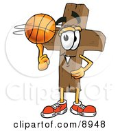 Clipart Picture Of A Wooden Cross Mascot Cartoon Character Spinning A Basketball On His Finger