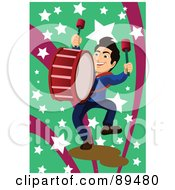 Royalty Free RF Clipart Illustration Of A Marching Band Drummer Over Green And Pink With Stars