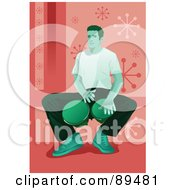 Royalty Free RF Clipart Illustration Of A Green Man Sitting And Playing Bongo Drums Over Pink by mayawizard101