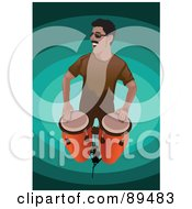 Royalty Free RF Clipart Illustration Of A Man Standing And Playing Conga Drums by mayawizard101 #COLLC89483-0158