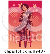 Royalty Free RF Clipart Illustration Of A Man Sitting On A Stool And Playing A Banjo