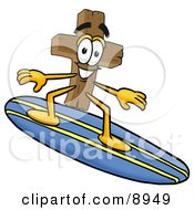 Clipart Picture Of A Wooden Cross Mascot Cartoon Character Surfing On A Blue And Yellow Surfboard