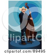 Royalty Free RF Clipart Illustration Of A Cowboy Playing A Double Bass
