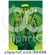 Royalty Free RF Clipart Illustration Of A Green Man Standing And Holding A Banjo by mayawizard101