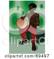 Royalty Free RF Clipart Illustration Of An African Man Sitting And Playing A Tambourine