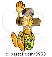 Clipart Picture Of A Wooden Cross Mascot Cartoon Character Plugging His Nose While Jumping Into Water