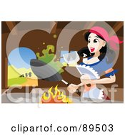 Royalty Free RF Clipart Illustration Of Snow White Cooking In The Dwarfs Kitchen by mayawizard101