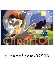 Royalty Free RF Clipart Illustration Of A Man Stalking Snow White by mayawizard101