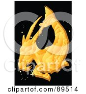 Royalty Free RF Clipart Illustration Of A Golden Capricorn Sea Goat In A Starry Sky by mayawizard101