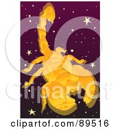 Royalty Free RF Clipart Illustration Of A Golden Scorpio Scorpion In A Starry Sky by mayawizard101